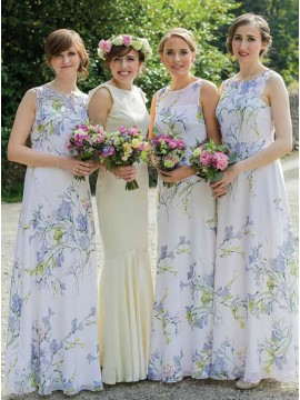 A-Line Round Neck Floor-Length Chiffon Bridesmaid Dress