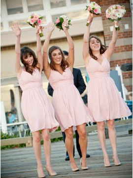 A-Line Straps Short Pink Chiffon Bridesmaid Dress with Ruched