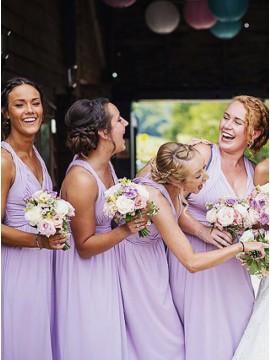 A-Line V-Neck Floor-Length Lavender Bridesmaid Dress with Pleats