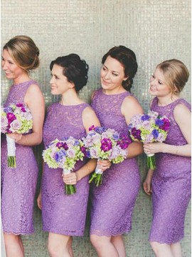 Sheath Round Neck Knee-Length Lilac Lace Bridesmaid Dress