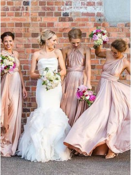 A-Line V-Neck Floor-Length Blush Convertible Bridesmaid Dress