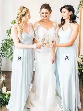 A-Line Spaghetti Straps Floor-Length Light Blue Chiffon Bridesmaid Dress