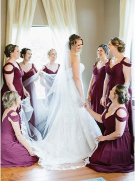 A-Line V-Neck Cold Shoulder Long Burgundy Bridesmaid Dress