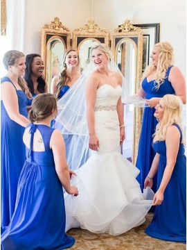 A-Line Square Neck Open Back Long Royal Blue Bridesmaid Dress