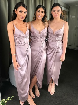 Sheath V-neck Ankle-Length Long Lilac Bridesmaid Dress