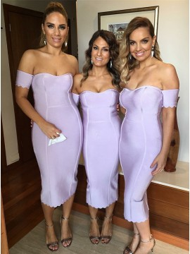 Mermaid Sweetheart Short Sleeves Lavender Bridesmaid Dress
