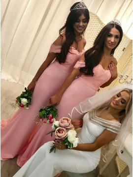 Mermaid Off-the-Shoulder Pink Long Bridesmaid Dress with Lace