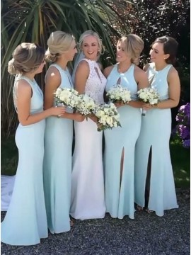 Mermaid Round Neck Long Mint Bridesmaid Dress with Keyhole