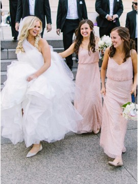 Sheath Spaghetti Straps Long Pink Bridesmaid Dress with Sequins