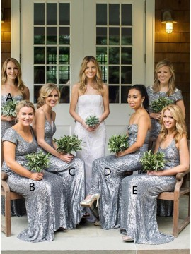 A-Line Sweetheart Floor-Length Silver Sequined Bridesmaid Dress