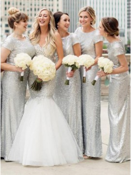 Sheath Round Neck Short Sleeves Silver Sequined Bridesmaid Dress