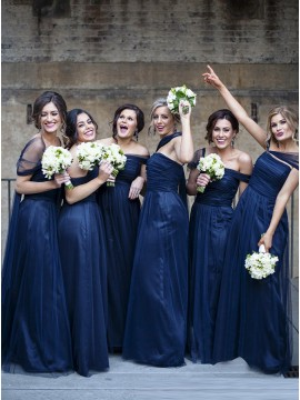 A-Line Off-the-Shoulder Long Navy Blue Tulle Bridesmaid Dress