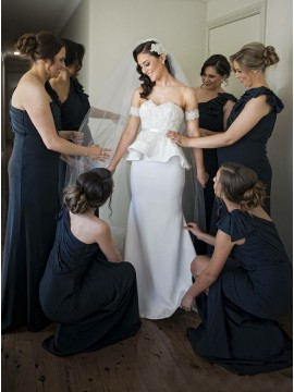 Mermaid One-Shoulder Long Navy Blue Bridesmaid Dress with Ruffles