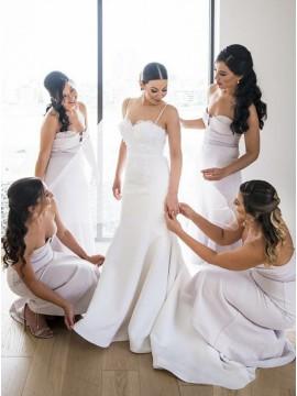 Mermaid Sweetheart Long Printed Satin Lavender Bridesmaid Dress