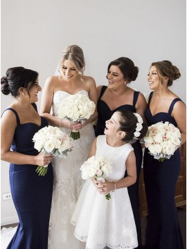 Mermaid Straps Backless Floor-Length Navy Blue Bridesmaid Dress
