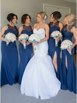 Mermaid Round Neck Long Dark Blue Nridesmaid Dress with Lace
