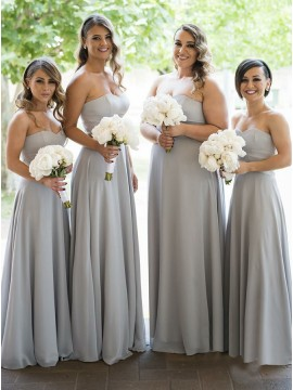 A-Line Sweetheart Floor-Length Grey Chiffon Bridesmaid Dress