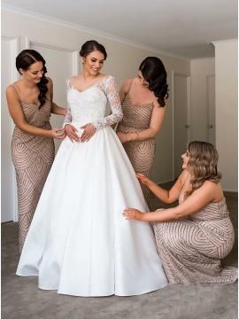 Sheath Spaghetti Straps Long Bluesh Sequined Bridesmaid Dress