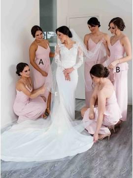 Sheath Spaghetti Straps Long Pink Bridesmaid Dress with Split