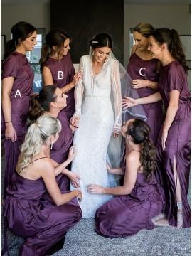 Sheath Round Neck Short Sleeves Purple Long Bridesmaid Dress