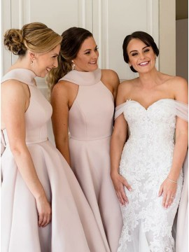 A-Line High Neck Pearl Pink Satin Bridesmaid Dress with Boeknot