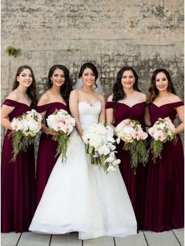 Elegant A-Line Off-the-Shoulder Long Burgundy Bridesmaid Dress