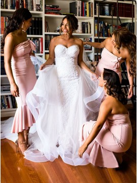 Mermaid Strapless Backless Ankle-Length Pink Bridesmaid Dress
