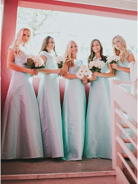 A-Line Round Neck Floor-length Light Blue Satin Bridesmaid Dress