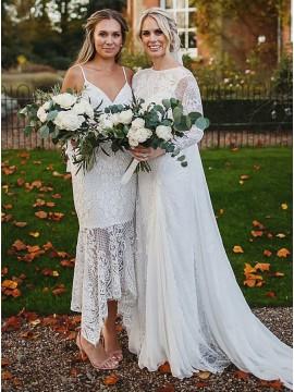 Mermaid Spaghetti Straps Asymmetrical Lace Bridesmaid Dress