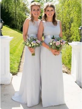 Sheath Round Neck Floor-Length Light Grey Bridesmaidf Dress