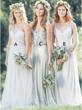 A-Line One-Shoulder Floor-Length Light Grey Bridesmaid Dress