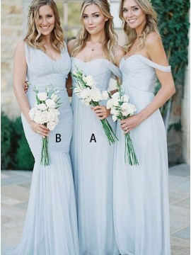 A-Line Off-the-Shoulder Long Light Blue Chiffon Bridesmaid Dress