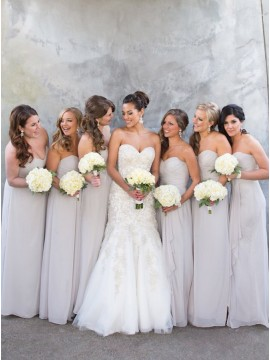 A-Line Sweetheart Floor-Length Light Grey Chiffon Bridesmaid Dress