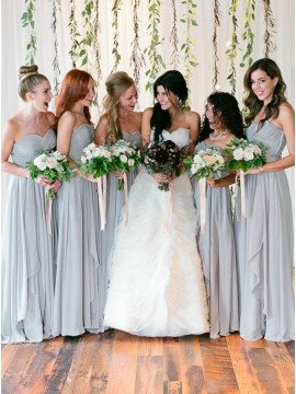 A-Line Sweetheart Long Grey Chiffon Bridesmaid Dress with Pleats