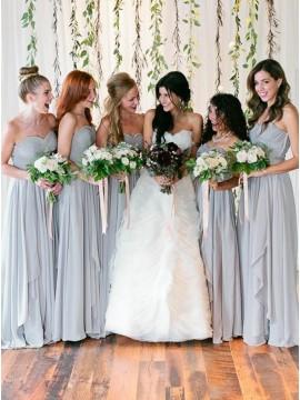 A-Line Sweetheart Long Grey Chiffon Bridesmaid Dress with Pleats