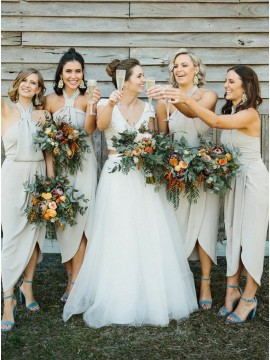 Sheath Halter Backless Ankle-Length Grey Bridesmaid Dress