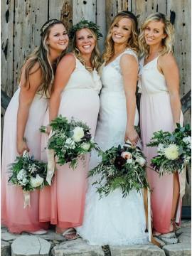 A-Line Spaghetti Straps Long Ombre Chiffon Bridesmaid Dress