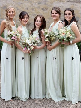 A-Line Square Neck Floor-Length Sage Chiffon Bridesmaid Dress