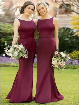 Mermaid Bateau Floor-Length Burgundy Bridesmaid Dress