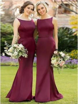 Mermaid Bateau Floor-Length Burgundy Bridesmaid Dress