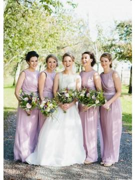 Sheath Bateau Floor-Length Lilac Chiffon Bridesmaid Dress