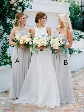 A-Line Mismatched Long Light Grey Bridesmaid Dress