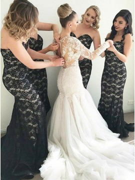 Mermaid Sweetheart Sweep Train Black Lace Bridesmaid Dress