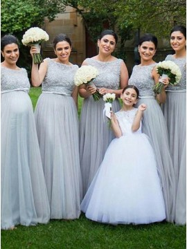 A-Line Bateau Backless Grey Bridesmaid Dress with Lace