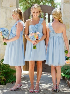 A-Line One-Shoulder Knee-Length Blue Bridesmaid Dress
