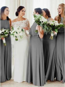 A-Line Round Neck Floor-Length Dark Grey Bridesmaid Dress