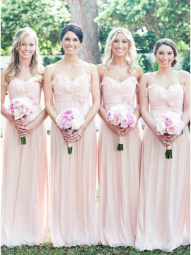 A-Line Halter Floor-Length Pearl Pink Bridesmaid Dress