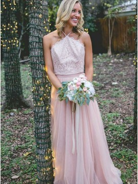 A-Line Halter Backless Pink Bridesmaid Dress with Lace