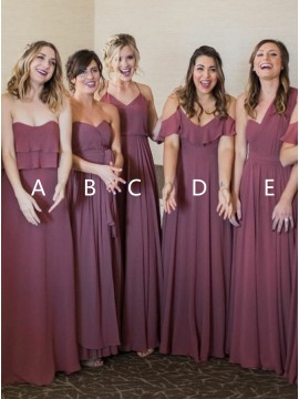 A-Line Sweetheart Chiffon Long Maroon Mismatched Bridesmaid Dress