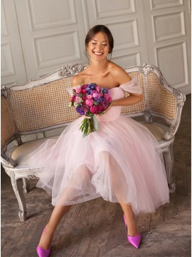 Short Off-the-Shoulder Homecoming Dress Pink Bridesmaid Party Dress